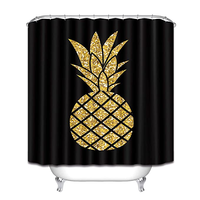 Youyoutang Summer Gold Glitter Pineapple Waterproof Fabric Shower Curtain 12 Shower Hooks 180 X180 Cm Home Decoration Bathroom Accessories by Youyoutang