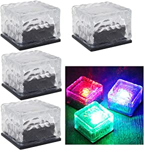 DSDecor 4 Pack Solar Glass Brick Lights Ice Cube Lights Outdoor Waterproof LED Landscape Light Buried Light Square Cube Frosted Glass Light for Garden Lawn Pathway Yard Patio (Colorful)