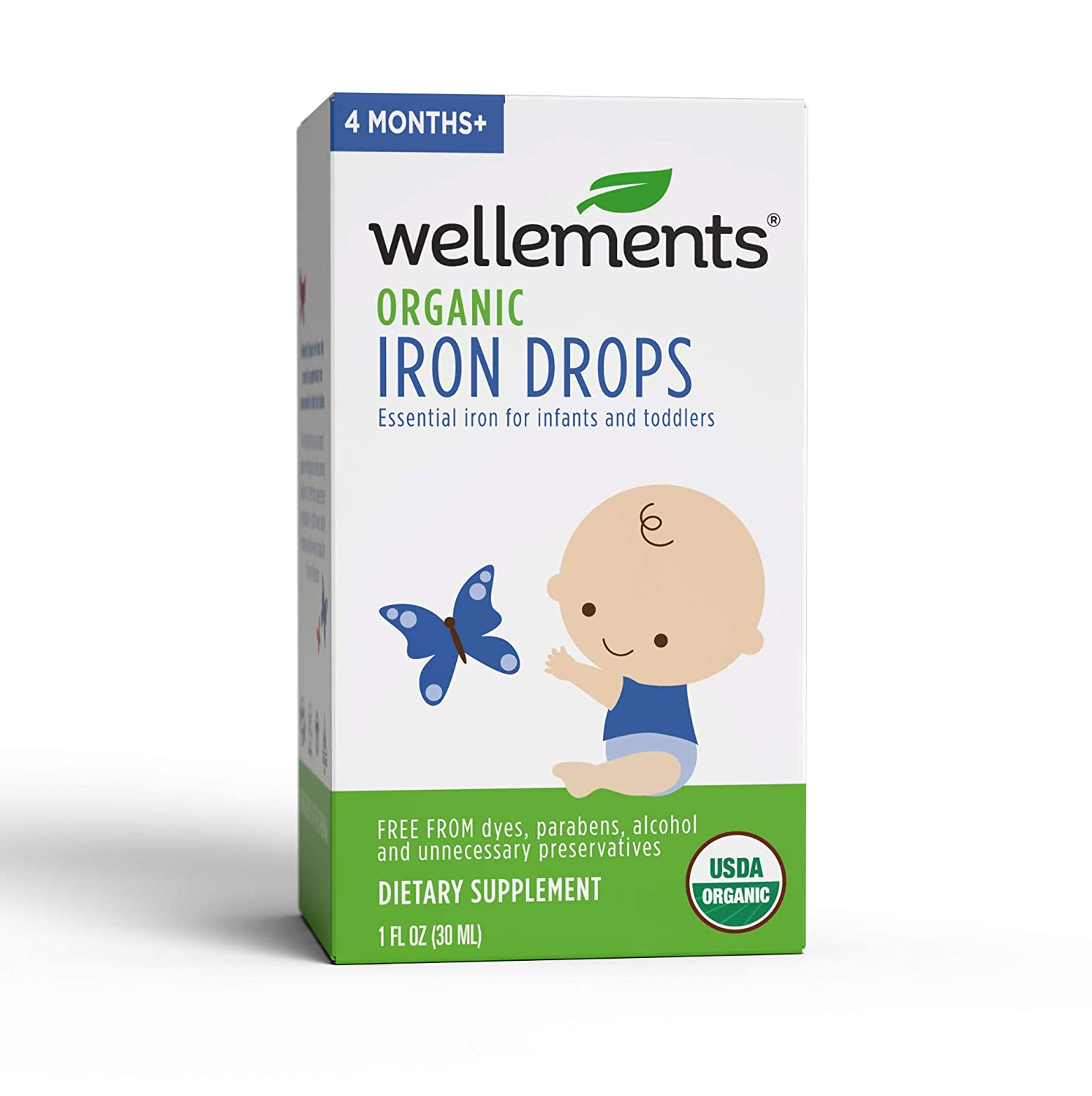 Wellements Organic Iron Drops, 1 Fl Oz, Liquid Iron Vitamin Supplement for Infants and Toddlers, Free from Dyes, Parabens, Alcohol, Preservatives