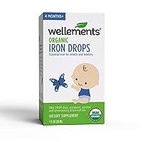 Wellements Organic Iron Drops, 1 Fl Oz, Liquid Iron Vitamin Supplement for Infants...