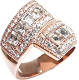 Ah! Jewellery Appealing Rose Gold Filled Exquisite Overlapping Ring. Princess Cut Graceful Simulated Diamonds, Brilliant Round Lab Diamonds Surrounding. 8.2GR. Attractive Quality.