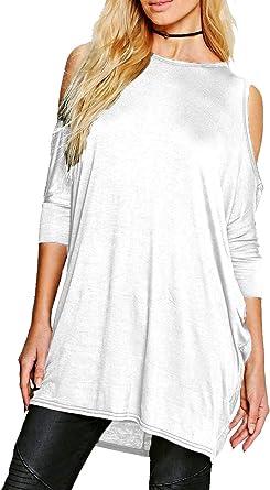 Camiseta Ancha de Estilo túnica para Mujer - Manga murciélago - Recortes en los Hombros: Amazon.es: Ropa y accesorios