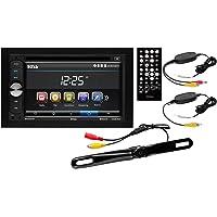 Boss Audio B9351WRC Estéreo de coche doble Din, visualización táctil, Bluetooth, DVD/CD/MP3/USB/SD AM/FM, monitor LCD digital de 6.2 pulgadas, control remoto inalámbrico, cámara trasera inalámbrica para matrícula.