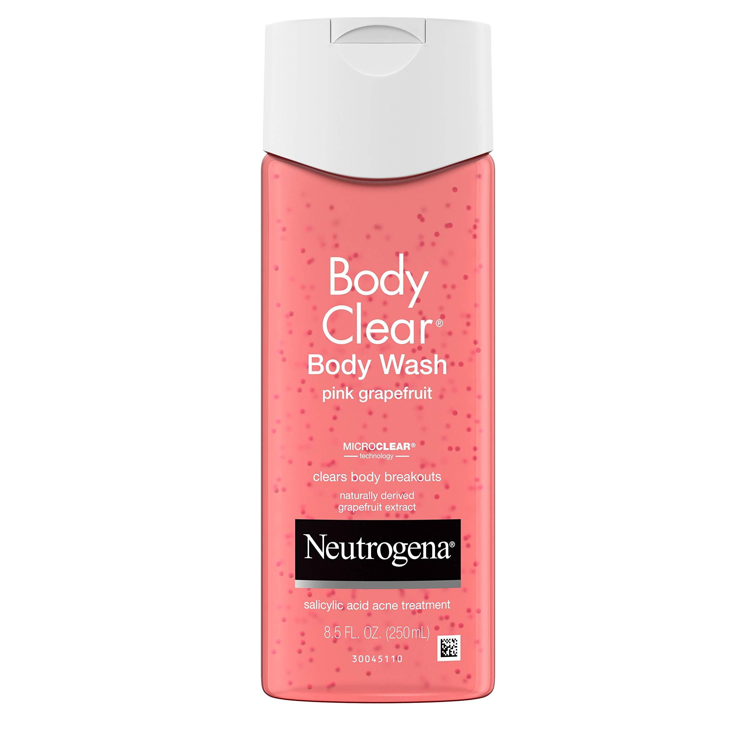 Neutrogena Body Clear Acne Treatment Body Wash with 2% Salicylic Acid Acne Medicine to Prevent Body Breakouts, Pink Grapefruit Shower Gel for Back, Chest & Shoulders, Vitamin C, 8.5 fl. oz