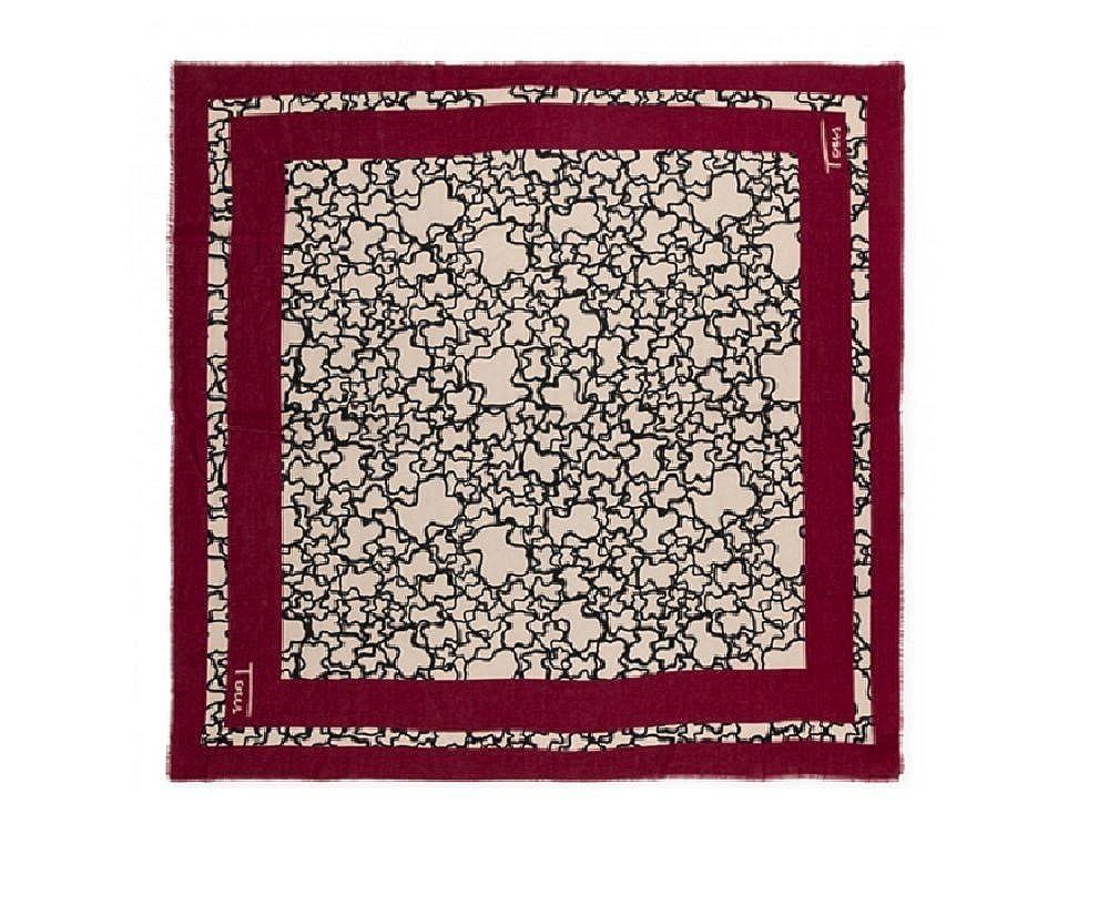 Pañuelo Tous Kaos Frame en color burdeos 130x130