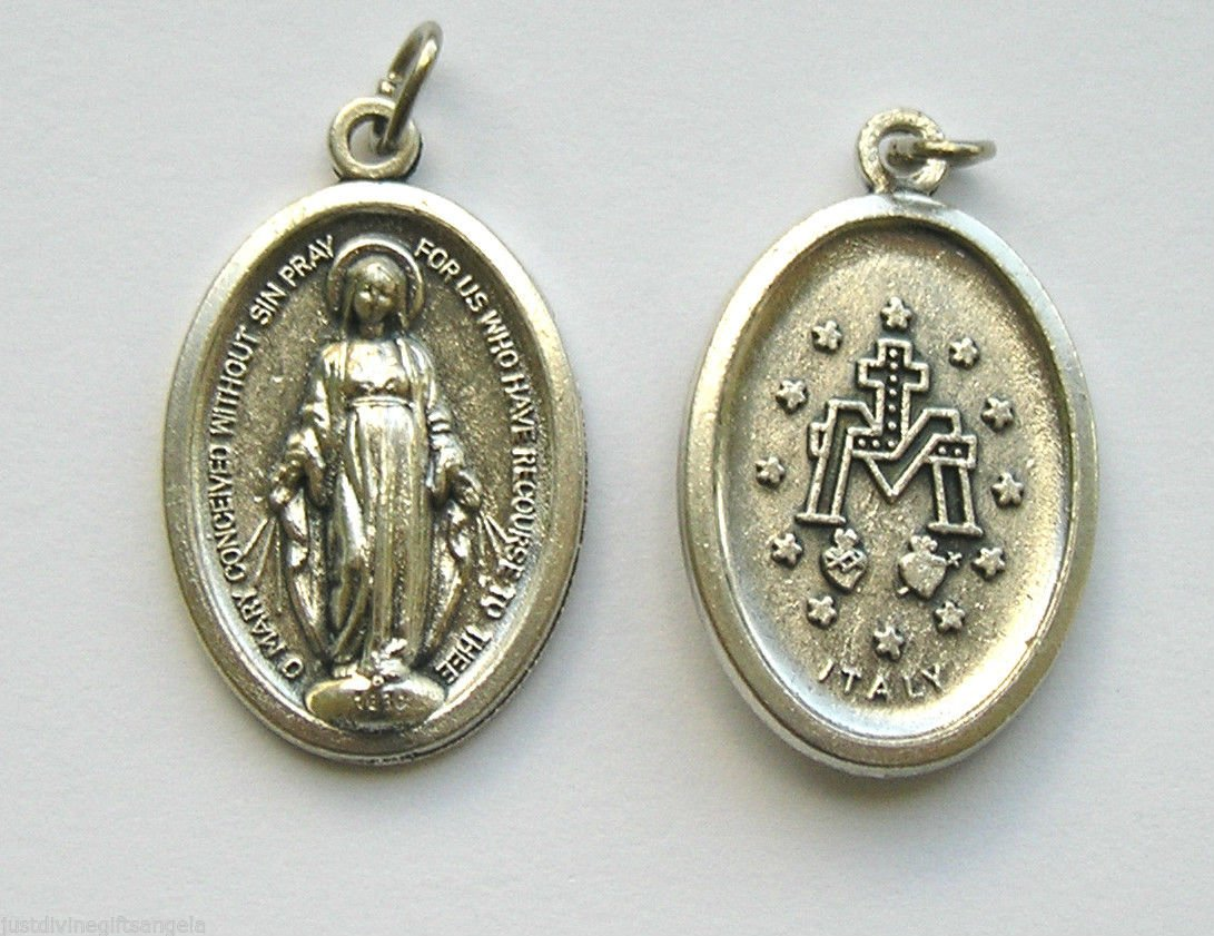 medal dove vintage medallion christian charm rosary religious pin holy family catholic