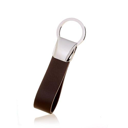 Hombres Karisma Llavero de piel marrón - con cierre de acero ...