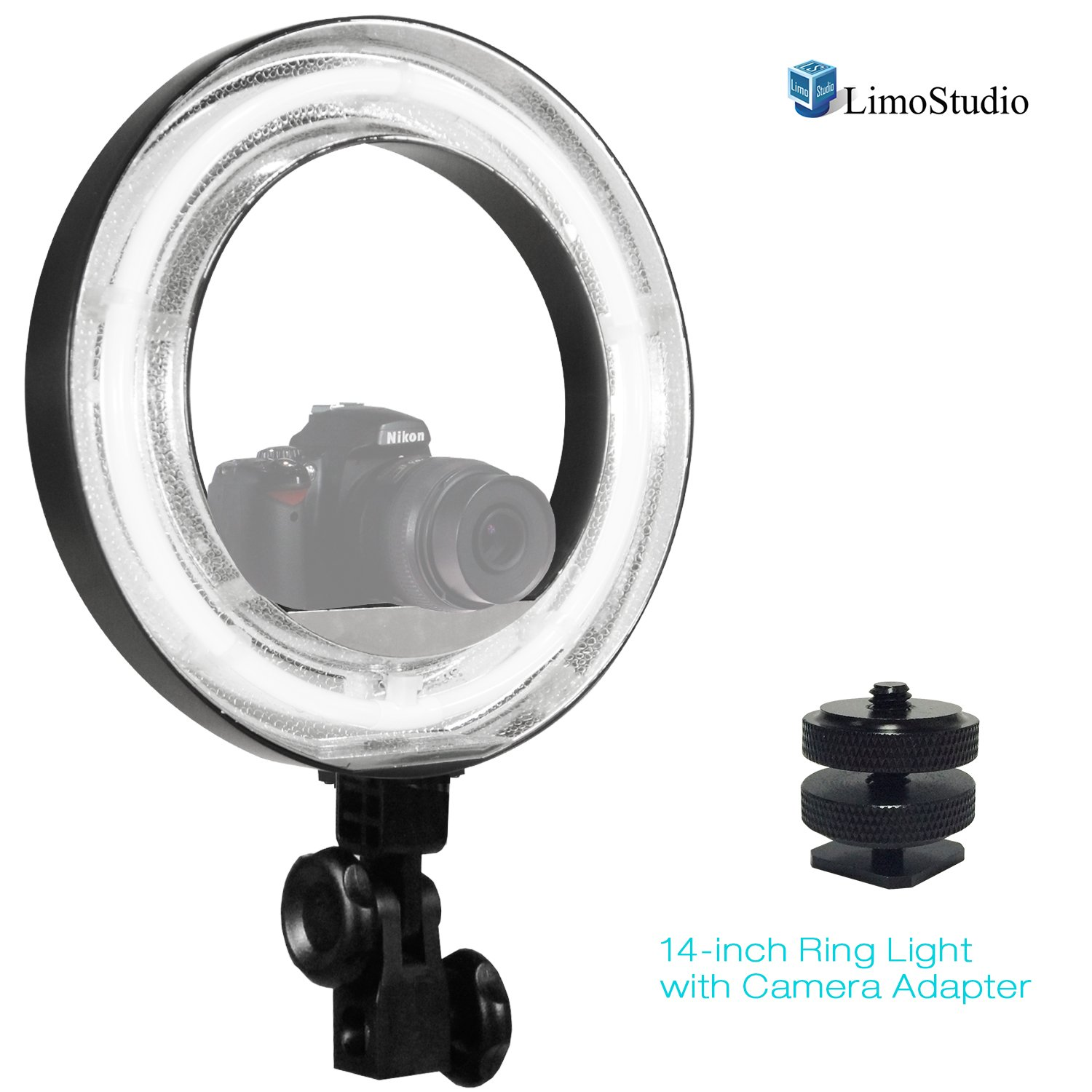 14-inch Continuous Round Ring Light with Camera Mounting Adapter & White Diffuser Cover for Soft Light, Professional Photo Video Shoot, Beauty Facial/Commercial Product Shoot, AGG2387