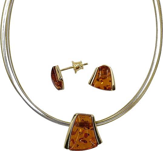 Artisana Parure de bijoux élégante en argent sterling 925 et ambre naturel, avec pendentifs et boucles d'oreilles en argent sterling 925 plaqué or et ambre naturel.