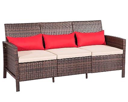 Suncrown Outdoor Furniture Patio Sofa Couch (Seats 3) Garden, Backyard,  Porch Or