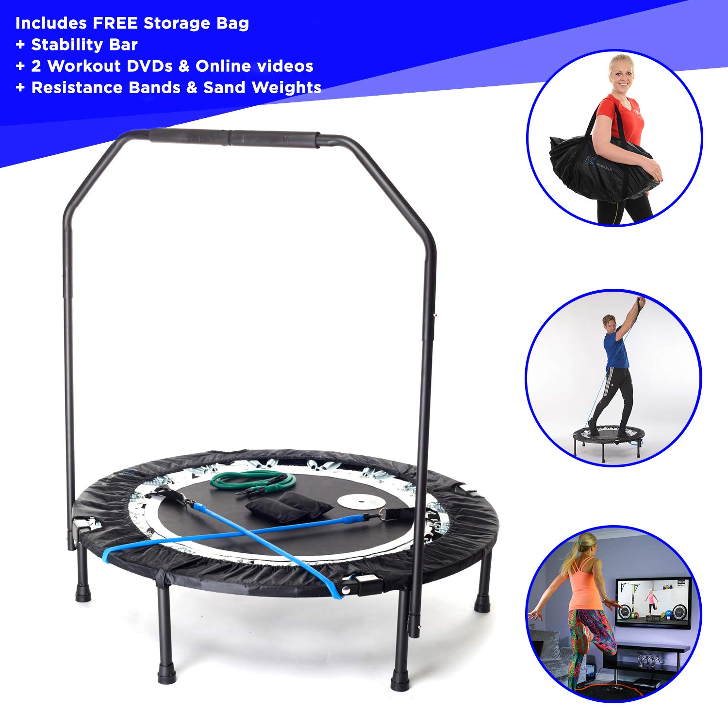 MaXimus PRO Folding Rebounder Voted 1 Indoor Exercise Mini Trampoline For Adults With Bar Best Home Gym for Fitness Lose Weight FREE Storage Bag, Resistance Bands, ONLINE DVD Workouts
