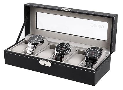 Amazoncom Ohuhu 6Slot PU Leather Watch Box Watch Case Jewelry