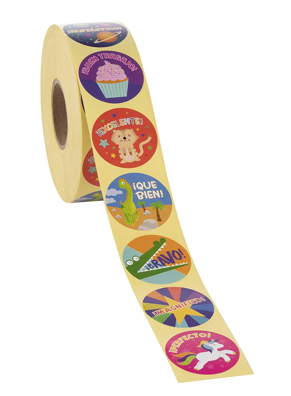Motivational Stickers with Cute Animals for Students Classroom Use 1.5 inches Diameter Teachers 1000-Count Spanish Encouragement Sticker Roll for Kids Reward Stickers 8 Designs