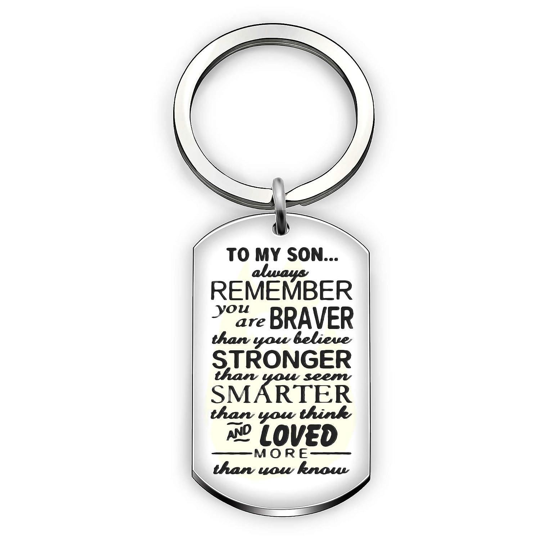 息子のキーホルダーは常に父のメンズキーホルダーの男の子のペンダントから私の息子の犬のタグを忘れないでください   B07C81SCVQ