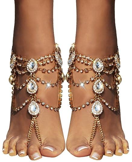 11b5e261152f8 Bienvenu 2Pcs Barefoot Sandals Sparkling Crystal Clear Rhinestone Elegant  Design