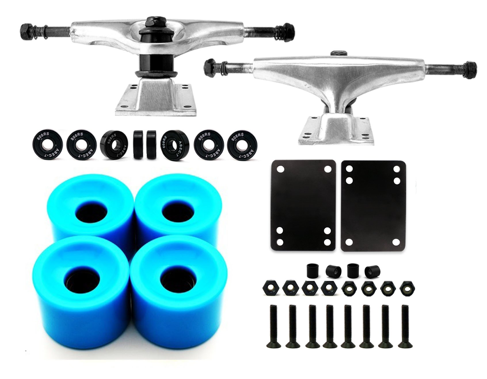 VJ Skateboard Truck and Wheel, 5.0 Skateboard Trucks (Silver) w/Skateboard Crusier Wheel 60mm, Skateboard Bearings, Skateboard Screws, Skateboard Riser Pads (Sky Blue) by VJ