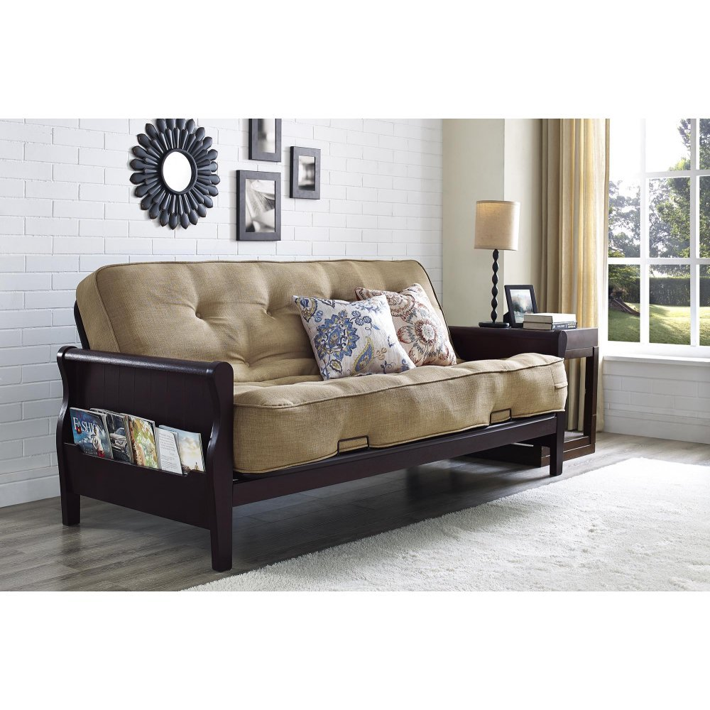 Amazon.com: Better Homes And Gardens Wood Arm Futon With Coil Mattress  Oatmeal Linen: Kitchen U0026 Dining