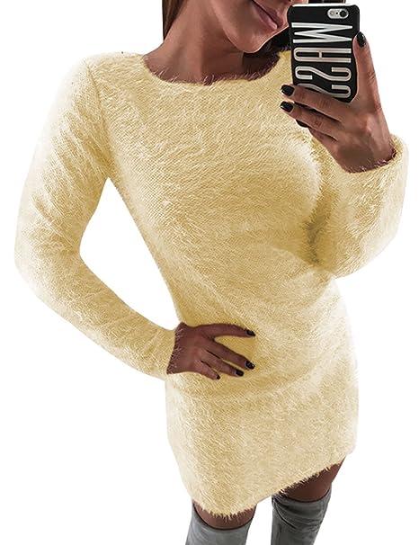 6bf3d772f846fa Walant Damen Langarm Kleid Weich Flauschig Mohair Pullikleid Pullover Kleid:  Amazon.de: Bekleidung