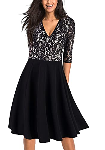 EvelynNY Women Vintage Floral Lace Cocktail Prom Party Midi Pleated Swing Dress