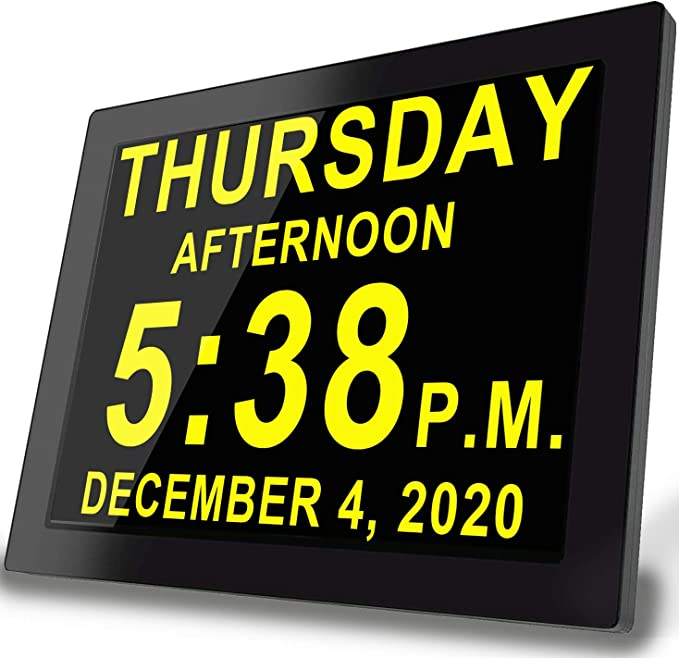 Johnziny Digital Calendar Day Clock-8 Alarms Extra Large Display Dementia Alzheimer Memory Loss Impaired Vision Alarm Clock with Backup Battery for Seniors//Elderly