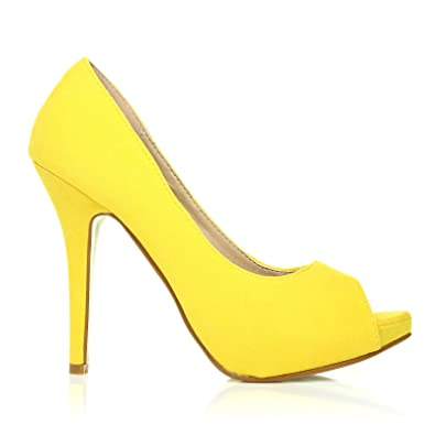 TIA Pumps High Heels Kunstwildleder Gelb Stiletto Plateau Peep Toe Schuhe - Gelb Wildleder, Synthetik, 36