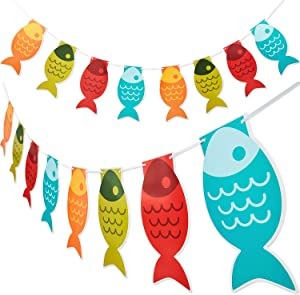 2 Pieces Fish Banner Fish Paper Pennant Banner Fisherman Garland Banner for Fishing Party School Decoration Supplies
