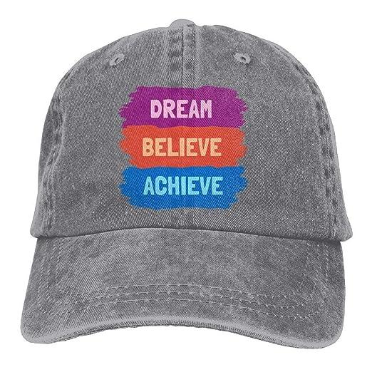cab9ff766 Unisex Cotton Dream Believe Achieve Denim Baseball Hip Hop Cap ...