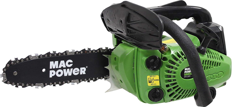 Mac Power 67611 Motosierra 25.4CC, 250mm, Sistema Arranque Suave, Gasolina Mezclada