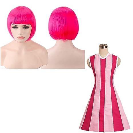 thematys Stephanie Lazy Town Disfraz + Peluca Rosa - Vestido ...