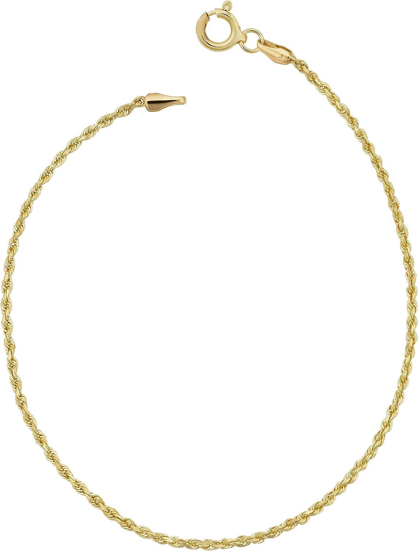 Kooljewelry 10k Yellow Gold Rope Anklet (1.6 mm, 10 inch)
