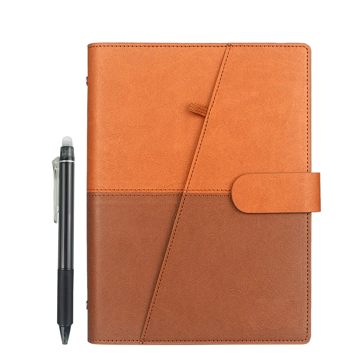 NEWYES Reusable Smart Notebook A5, PU Leather, Pen Included, Brown, 210X142  mm