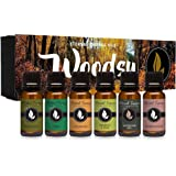 Woodsy Gift Set of 6 Premium Grade Fragrance Oils - Frankincense, Pine, Cedarwood, Bamboo & Teak, Woodland Bay…