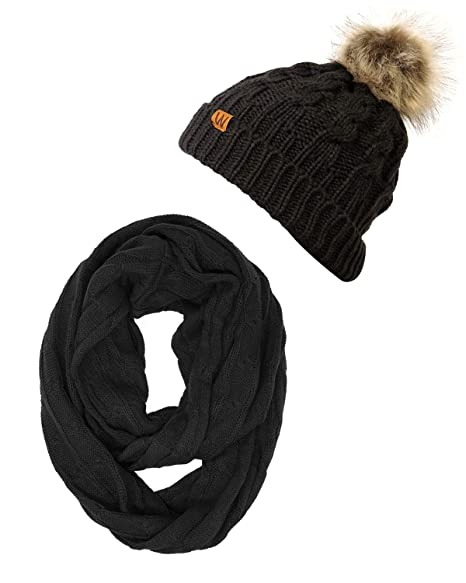 09cc6b30b54 Wrapables Winter Warm Cable Knit Infinity Scarf and Faux Fur Pom Pom Beanie  Set