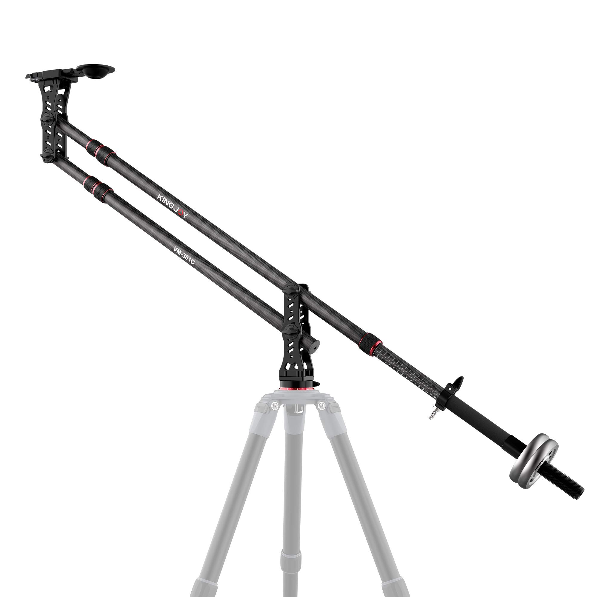 KINGJOY 82.7 inches Carbon Fiber Jib Arm Camera Crane with 1/4 and 3/8-inch Quick Shoe Plate, 360 Degree Pan Ball Head, Counter Weight for DSLR Video Cameras, Load up to 17.6 lbs, VM-301C by KINGJOY
