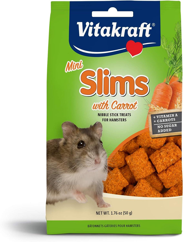 Vitakraft Mini Slims with Carrot Hamster & Small Animal Nibble Stick Treat, 1.76 oz