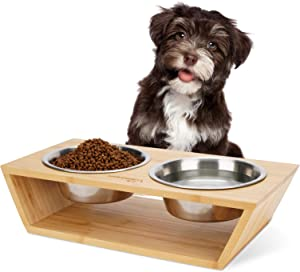 Wantryapet Elevated Dog Cat Dog Feeder with 2 Stainless Steel Bowls, Bamboo Raised Stand Pet Feeder Perfect for Small Dogs & Cats