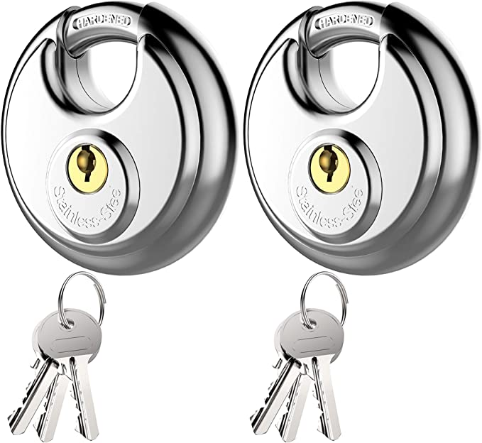 Puroma Stainless Steel Discus Keyed Padlock Waterproof and Rustproof Storage Lock with 3 Keys and 3/8 Inch Stainless Steel Shackle for Storage Facilities, Tool Box, Gate, Fence, Garage, and Outdoors - - Amazon.com