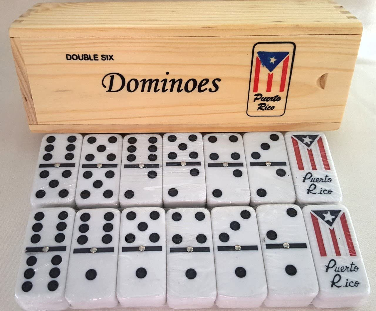 Dominoes Wood Case Ivory Classic Puerto R. Guitar Large Doble Seis Domino Jumbo