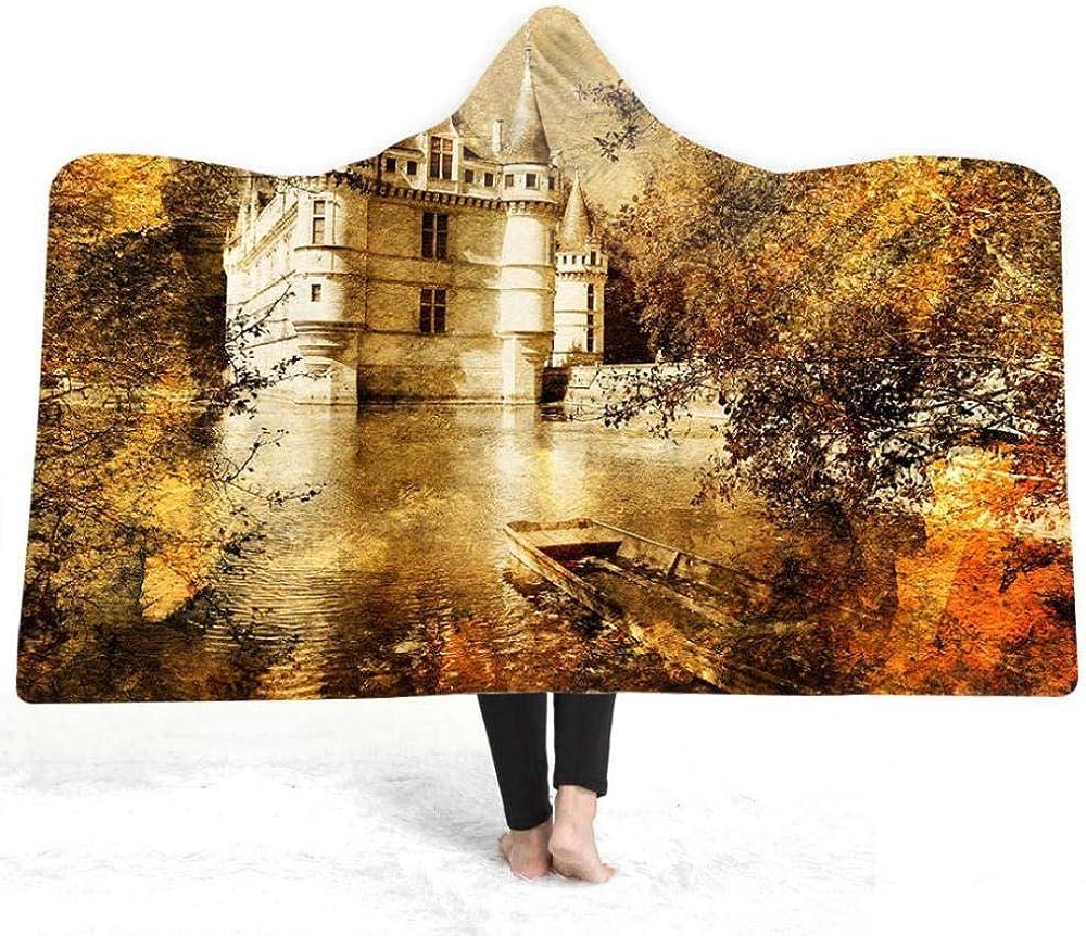 Castillo De Agua Manta con Capucha Invierno Cama Gruesa Tiro Suave Y Cálida para Vestir Sherpa Fleece Joyoso Cobija Estampado 3D Warm Adultos Niños De Cómoda