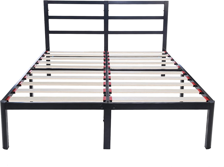 V LX 14 inch Tall Heavy-Duty Wooden Slats 1.0T Steel Frame Head Support Bed Frame Plarform Bed Full
