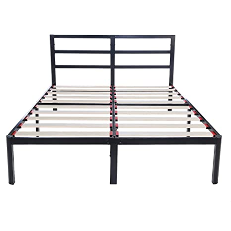 Brilliant Vlx 14 Inch Tall Heavy Duty Wooden Slats 1 0T Steel Frame Head Support Bed Frame Plarform Bed Full Ocoug Best Dining Table And Chair Ideas Images Ocougorg