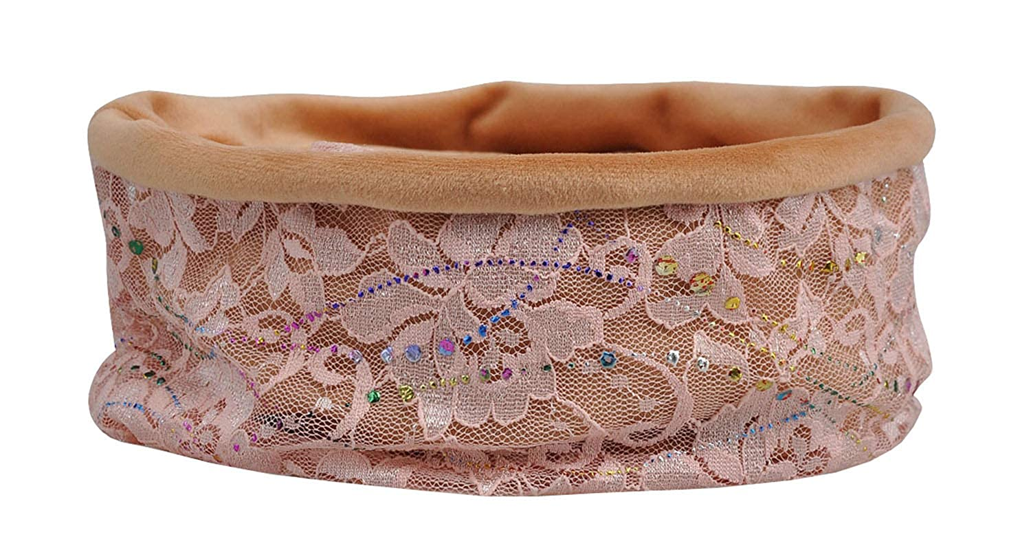 ACVIP Womens Sequined Hollowed Lace Head Wrap Cap Bonnet Neck Gaiter All in One-piece Headwear