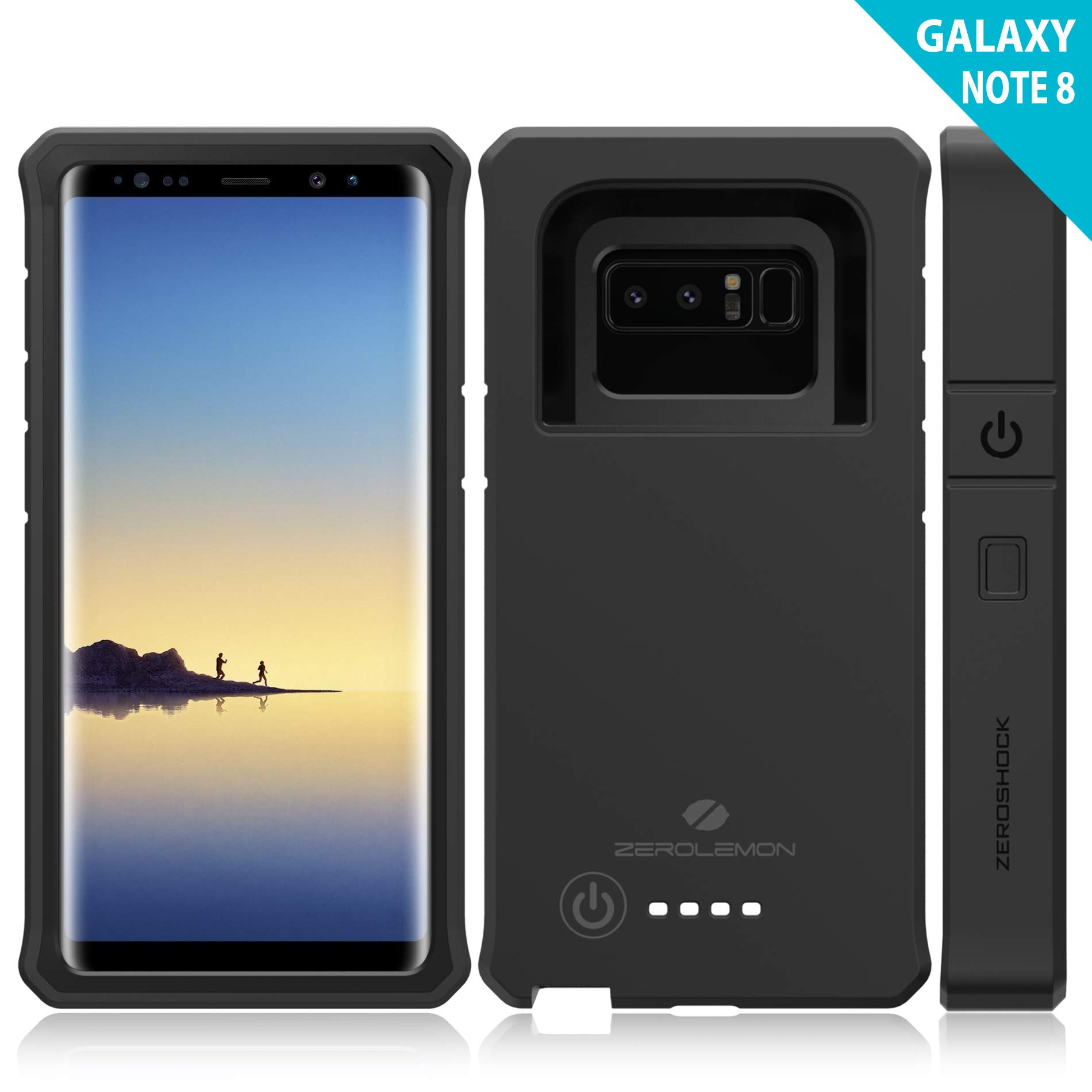 Galaxy Note 8 Battery Charger Case, ZeroLemon ZeroShock 10000mAh Extended Rugged Charging Case Portable Battery Case for Samsung Galaxy Note 8 - Black