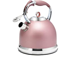 HIHUOS Tea Kettle 3 Quart induction Modern Stainless Steel Surgical Whistling Teapot - Pot For Stove Top (Rose-gold)