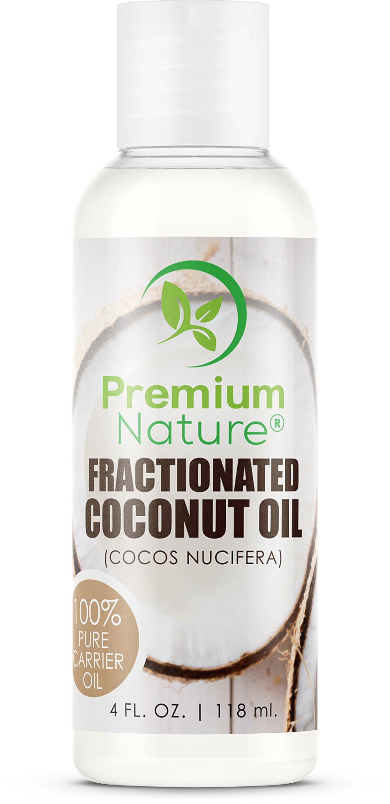 Fractionated Coconut Oil Massage Oils - Liquid MCT Natural & Pure Body Oil Carrier Massage Oil - for Hair & Skin 4 Oz Clear Premium Nature