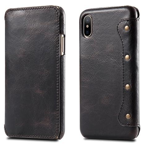 Bestsky Funda iPhone X, iPhone 10 Caso, Carcasa de Piel, Funda de Piel Real para iPhone X, Carcasa con Tarjetero, Cartera, Funda de Piel para Apple ...