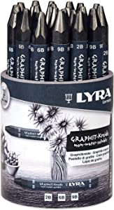 Lyra Graphite Crayons, Assorted Degrees, Non Water-Soluble, Set of 24 Crayons, Black (5623240)