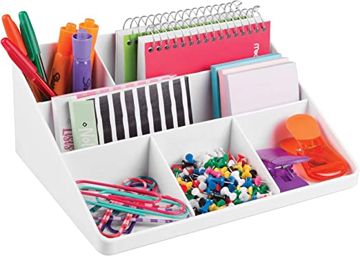 mDesign Interlocking Office Drawer Organizer for Pens Clear Highlighters Pencils Supplies