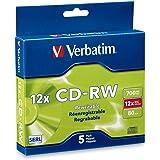 Verbatim CD-RW 700MB 2X-12X Rewritable Media Disc - 5 Pack Slim Case - 95157