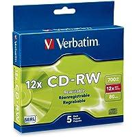Verbatim CD-RW 700MB 2X-12X Rewritable Media Disc - 5 Pack Slim Case